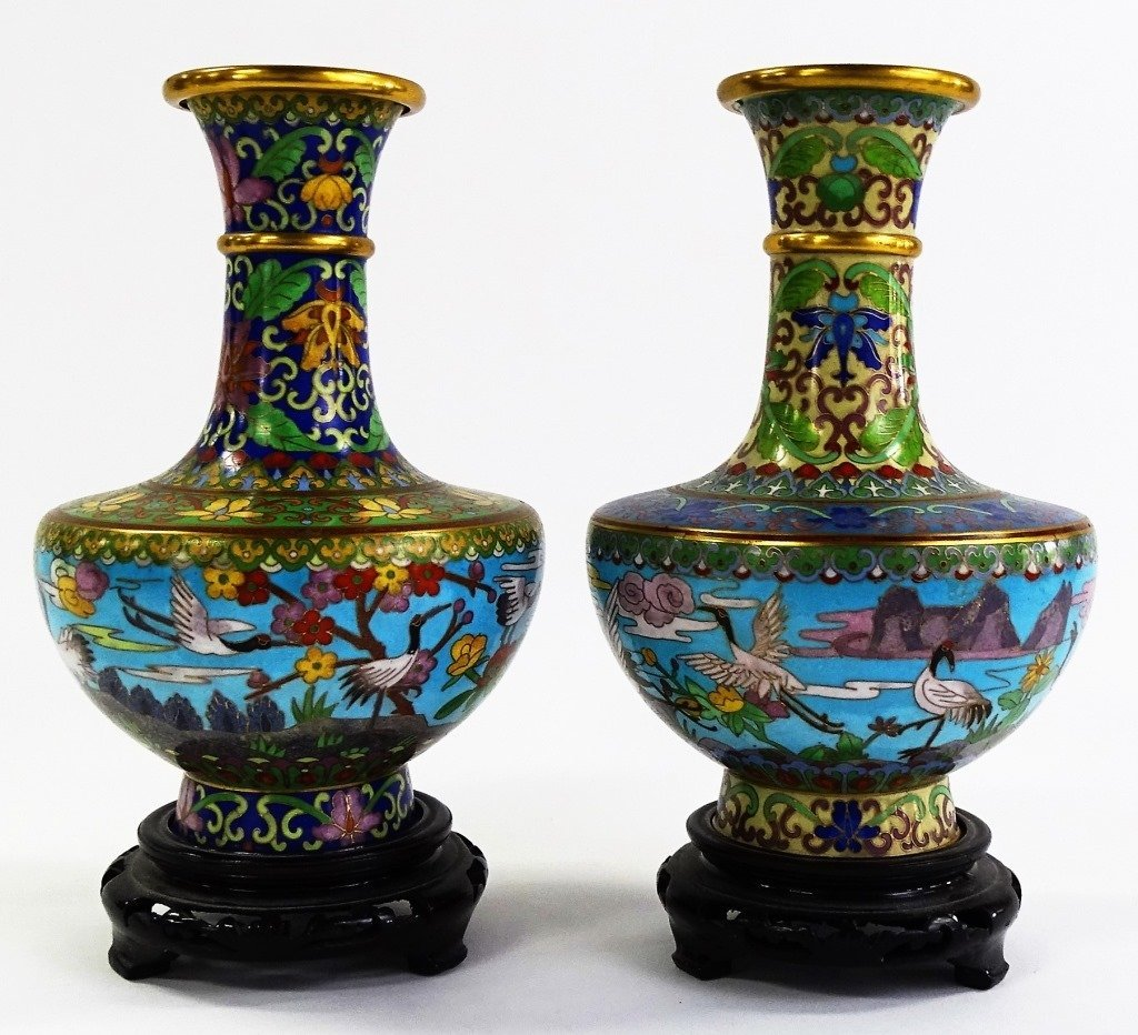 PAIR OF CLOISONNE VASES WITH WOODEN STANDS