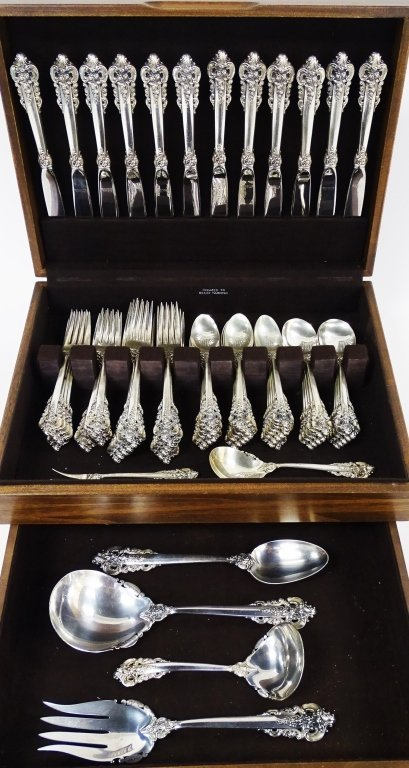 78PCS WALLACE GRAND BAROQUE STERLING FLATWARE