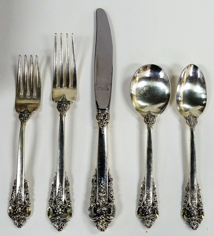 78PCS WALLACE GRAND BAROQUE STERLING FLATWARE - 2