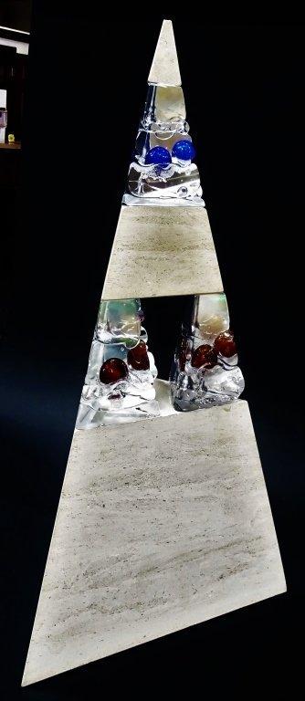 CHRIS THORNTON GRANITE & GLASS PYRAMID SCULPTURE