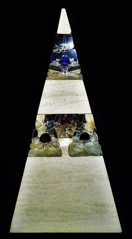 CHRIS THORNTON GRANITE & GLASS PYRAMID SCULPTURE - 2