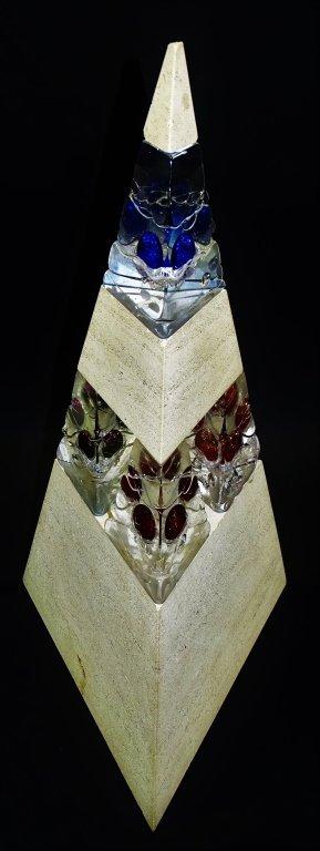 CHRIS THORNTON GRANITE & GLASS PYRAMID SCULPTURE - 3