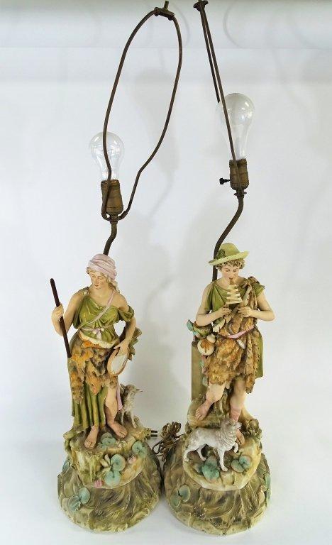 PAIR CONTINENTAL FIGURAL PORCELAIN LAMPS - 4