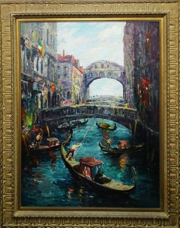 CHARLES VIGNON OIL ON CANVAS CANAL SCENE