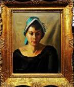 SIGNED AMERICAN OIL ON CANVAS PORTRAIT OF WOMAN