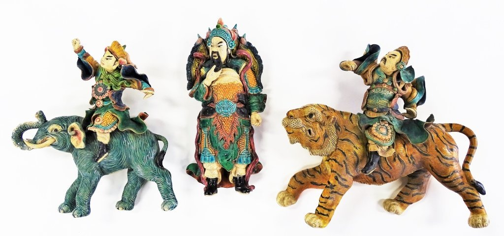 THREE ANTIQUE CHINESE GLAZED FIGURAL ROOF TILES