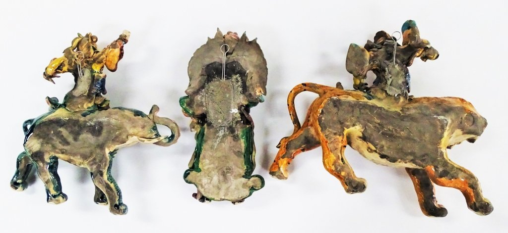 THREE ANTIQUE CHINESE GLAZED FIGURAL ROOF TILES - 2