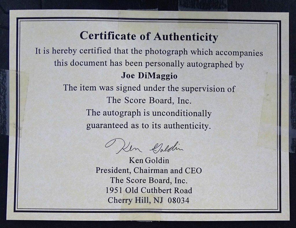 JOE DIMAGGIO AUTHENTIC AUTOGRAPHED PHOTOGRAPH - 3
