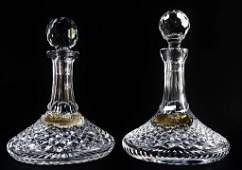PAIR WATERFORD CRYSTAL SHIPS DECANTER W STOPPER