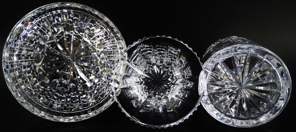 3 WATERFORD CRYSTAL PIECES 1 HURRICANE LAMP - 3