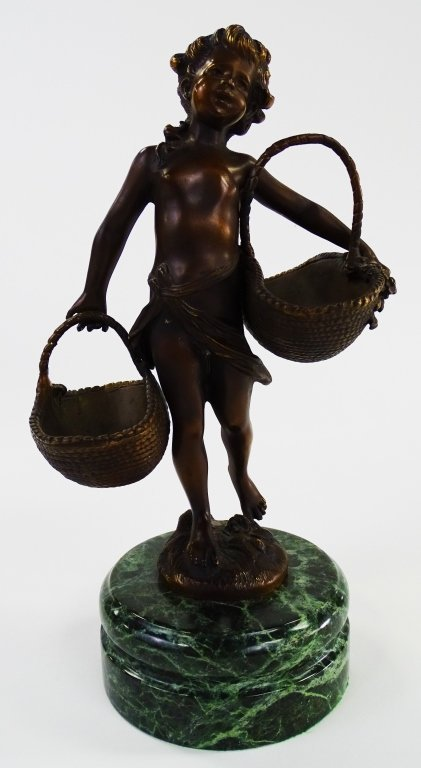 FRENCH BRONZE FIGURE OF CHILD CARRYING BASKETS