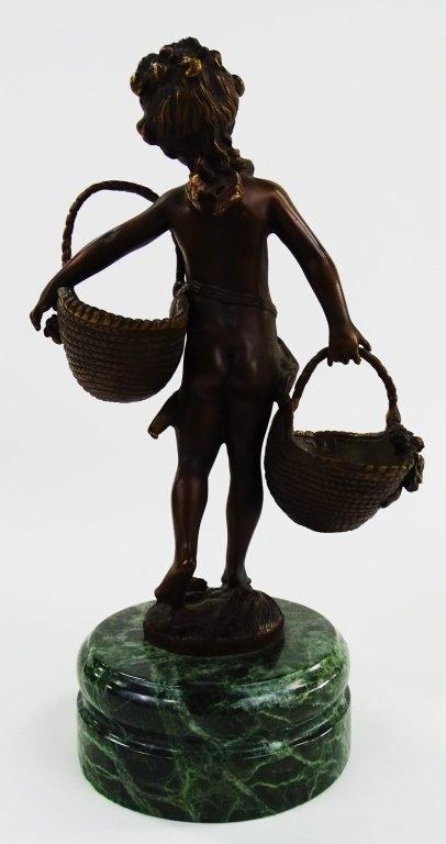 FRENCH BRONZE FIGURE OF CHILD CARRYING BASKETS - 3