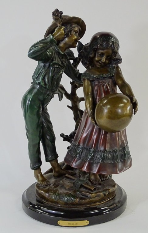 20TH C. BRONZE OF BOY & GIRL AFTER AUGUSTE MOREAU