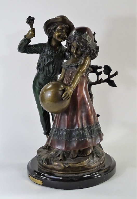 20TH C. BRONZE OF BOY & GIRL AFTER AUGUSTE MOREAU - 2