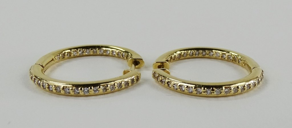 FABULOUS 14KT Y GOLD AND DIAMOND HOOP EARRINGS