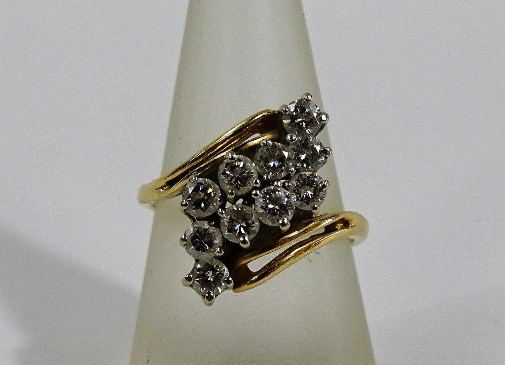 LADIES 14KT YELLOW GOLD DIAMOND COCKTAIL RING