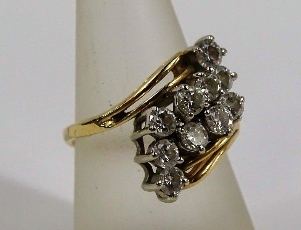 LADIES 14KT YELLOW GOLD DIAMOND COCKTAIL RING - 2