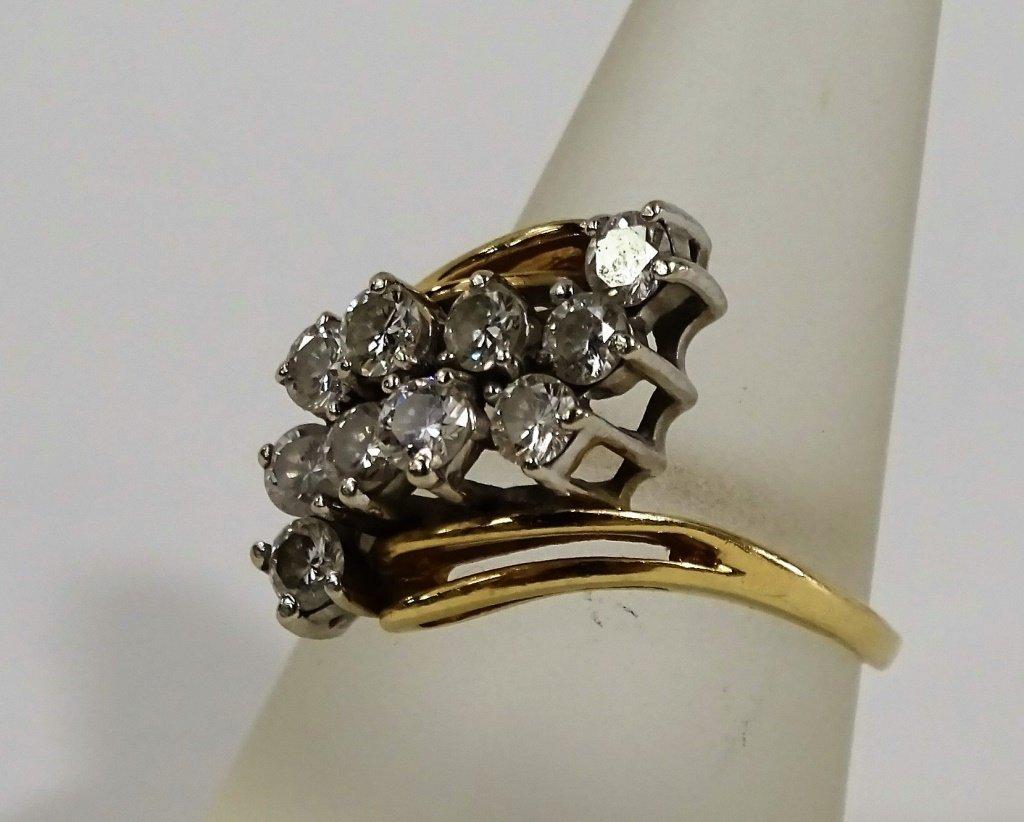 LADIES 14KT YELLOW GOLD DIAMOND COCKTAIL RING - 3