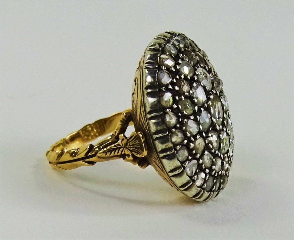 VICTORIAN 14KT Y GOLD & 1 CT MINE CUT DIAMOND RING - 2