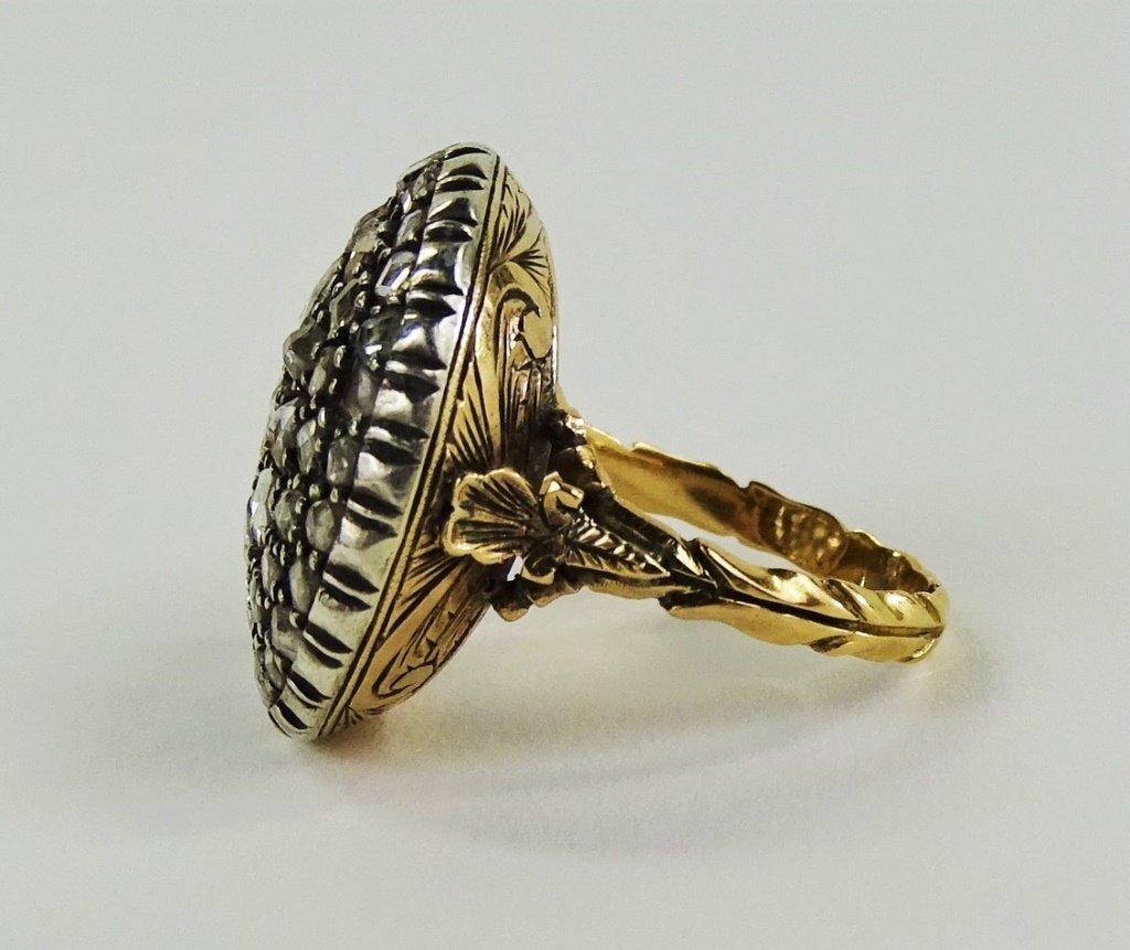 VICTORIAN 14KT Y GOLD & 1 CT MINE CUT DIAMOND RING - 3