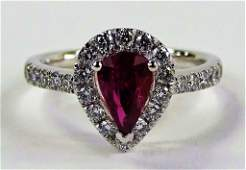 EXTREMELY RARE 102CT RUBY  DIAMOND PLATINUM RING