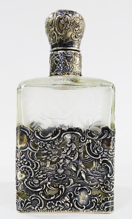 ANTIQUE STERLING OVERLAY LARGE PERFUME BOTTLE