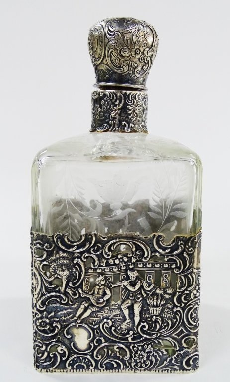 ANTIQUE STERLING OVERLAY LARGE PERFUME BOTTLE - 2