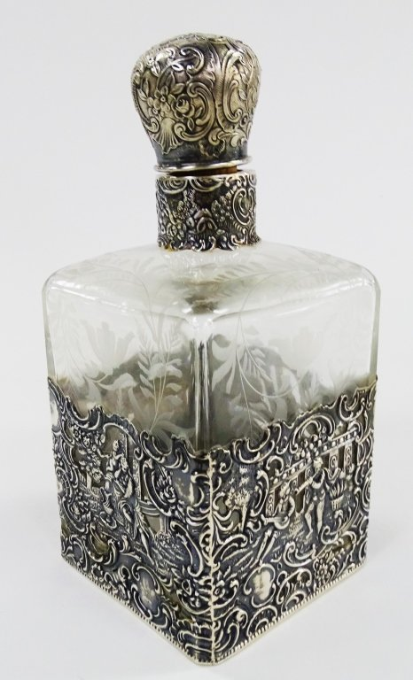 ANTIQUE STERLING OVERLAY LARGE PERFUME BOTTLE - 3
