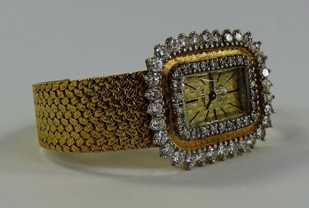 LADYS VINTAGE ANGELUS 14KT GOLD DIAMOND WATCH - 2