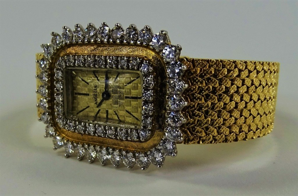 LADYS VINTAGE ANGELUS 14KT GOLD DIAMOND WATCH - 3