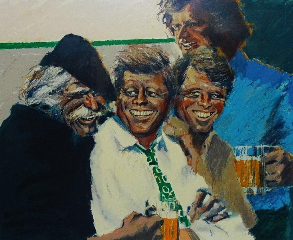 LARGE ALDO LUONGO 'THE KENNEDY BROTHERS' LITHO