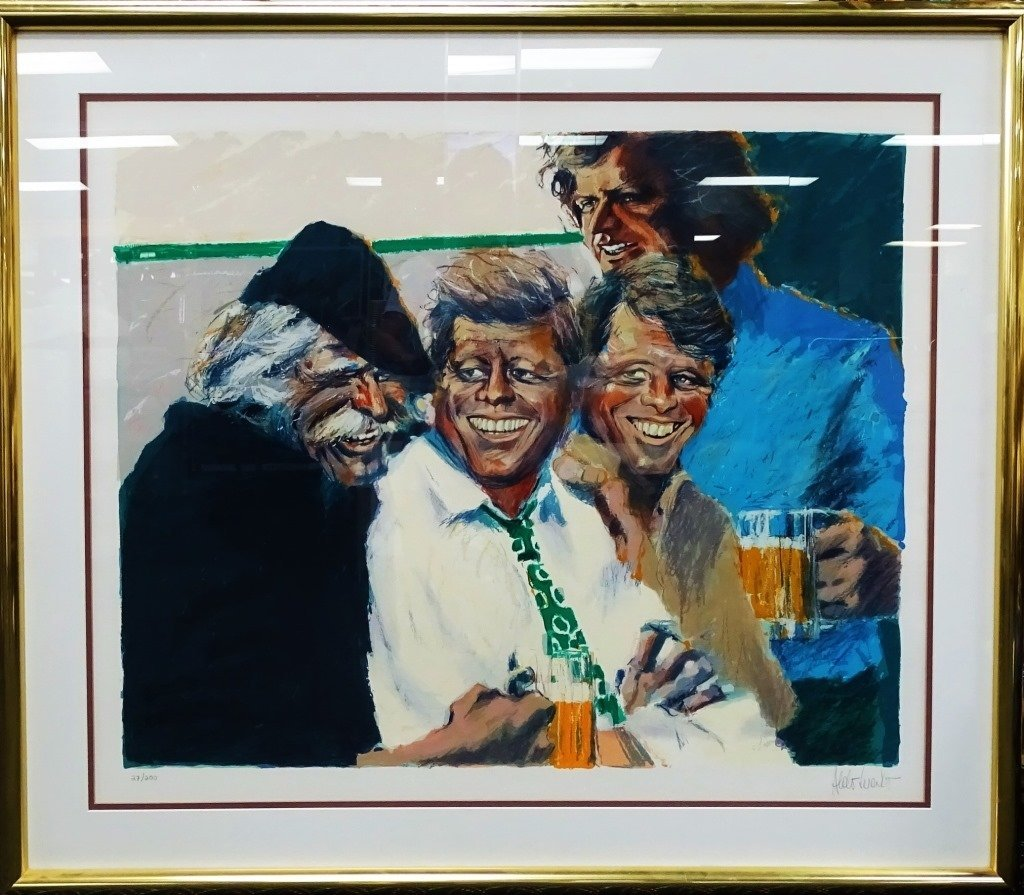 LARGE ALDO LUONGO 'THE KENNEDY BROTHERS' LITHO - 2