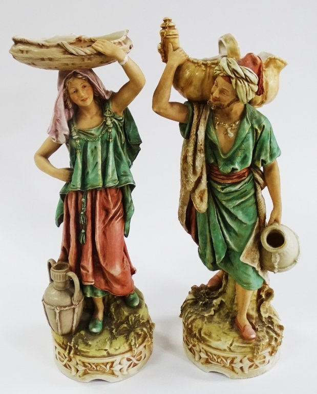 PAIR OF ROYAL DUX PORCELAIN OF A MAN AND WOMAN