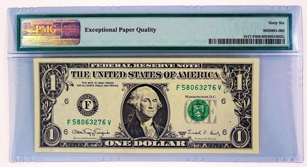 1988A $1 FEDERAL RESERVE NOTE - SMEAR ERROR