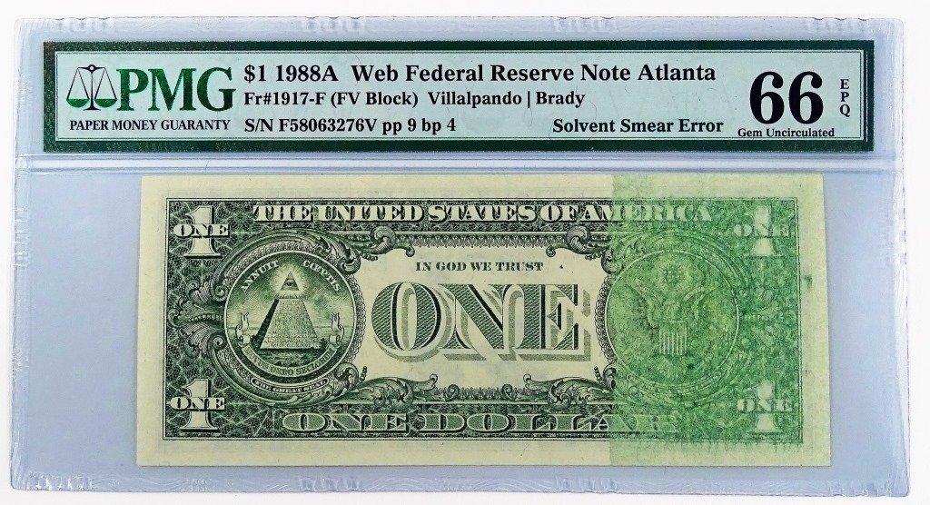 1988A $1 FEDERAL RESERVE NOTE - SMEAR ERROR - 2