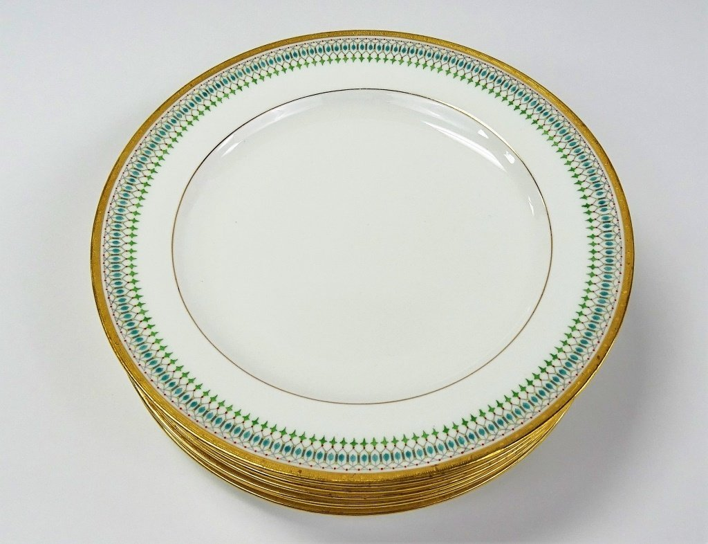 SET OF 8 ANTIQUE MINTON PORCELAIN DINNER PLATES