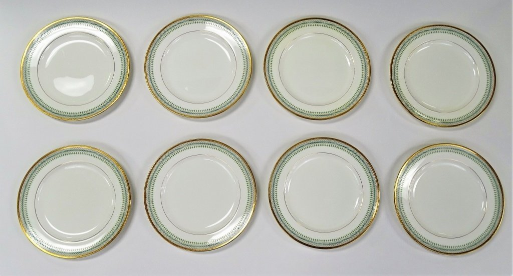 SET OF 8 ANTIQUE MINTON PORCELAIN DINNER PLATES - 2
