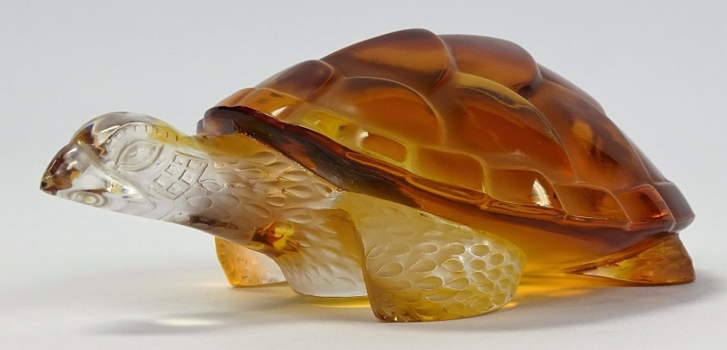 LALIQUE FRENCH CRYSTAL AMBER TURTLE PAPERWEIGHT