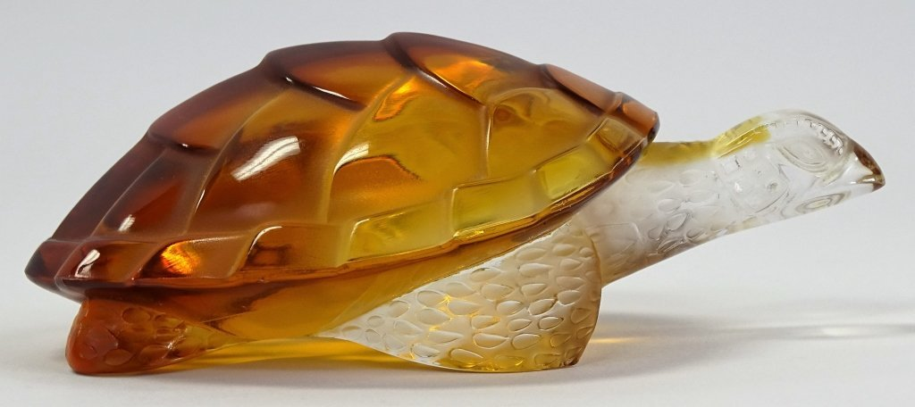 LALIQUE FRENCH CRYSTAL AMBER TURTLE PAPERWEIGHT - 2