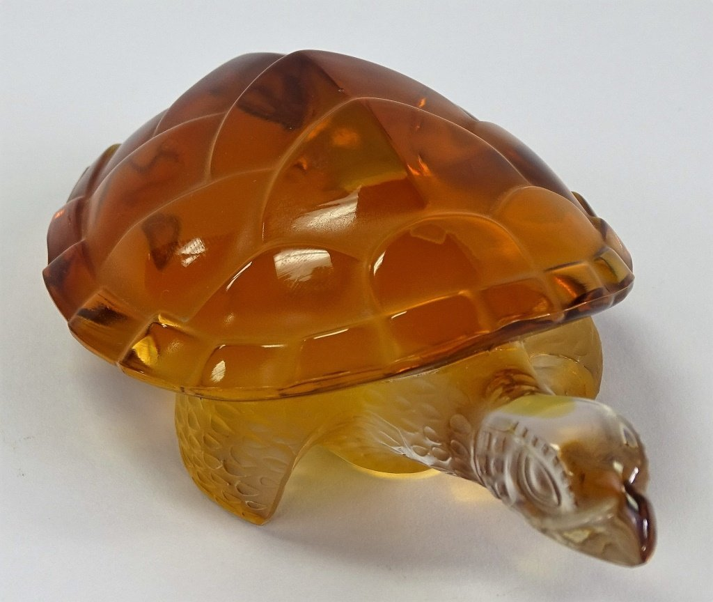 LALIQUE FRENCH CRYSTAL AMBER TURTLE PAPERWEIGHT - 4
