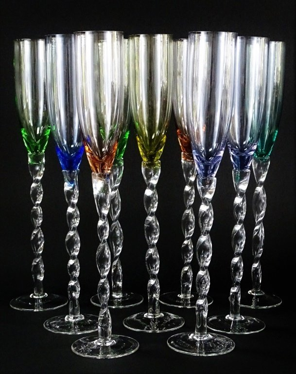 SET OF 9 TALL HAND BLOWN CHAMPAGNE GLASSES