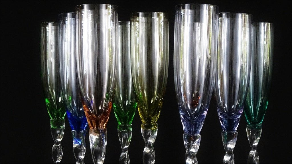 SET OF 9 TALL HAND BLOWN CHAMPAGNE GLASSES - 2