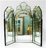 VENETIAN ETCHED AND CUT GLASS MIRROR