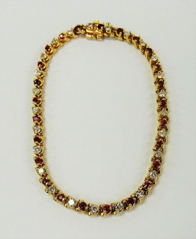 14KT YELLOW GOLD RUBY & DIAMOND TENNIS BRACELET