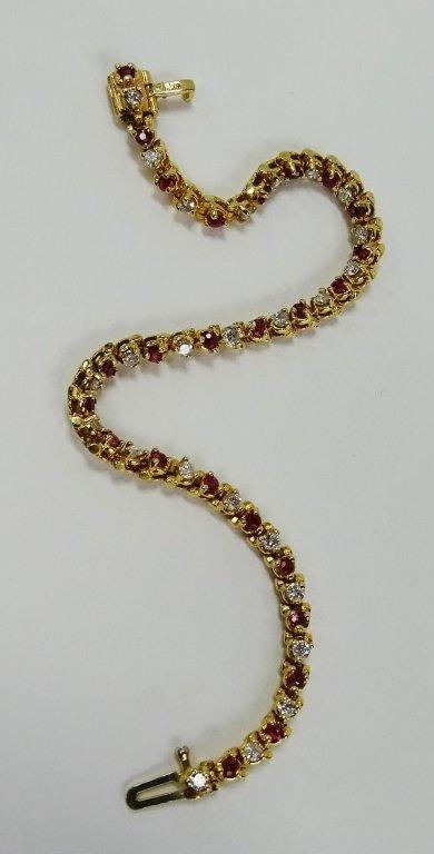 14KT YELLOW GOLD RUBY & DIAMOND TENNIS BRACELET - 2