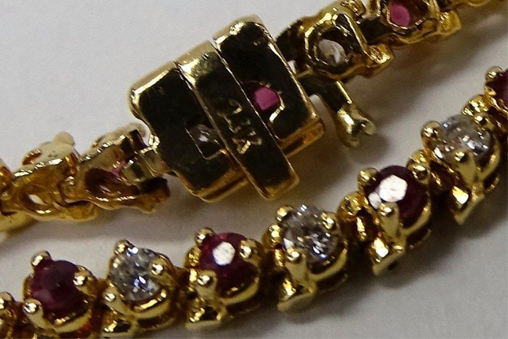 14KT YELLOW GOLD RUBY & DIAMOND TENNIS BRACELET - 3