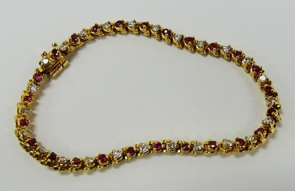 14KT YELLOW GOLD RUBY & DIAMOND TENNIS BRACELET - 4