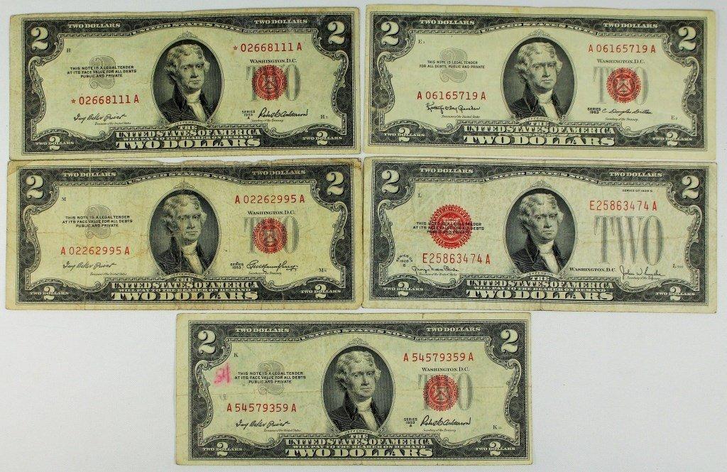 LOT OF (5) RED SEAL $2.00 BILLS (1928 - 1963)