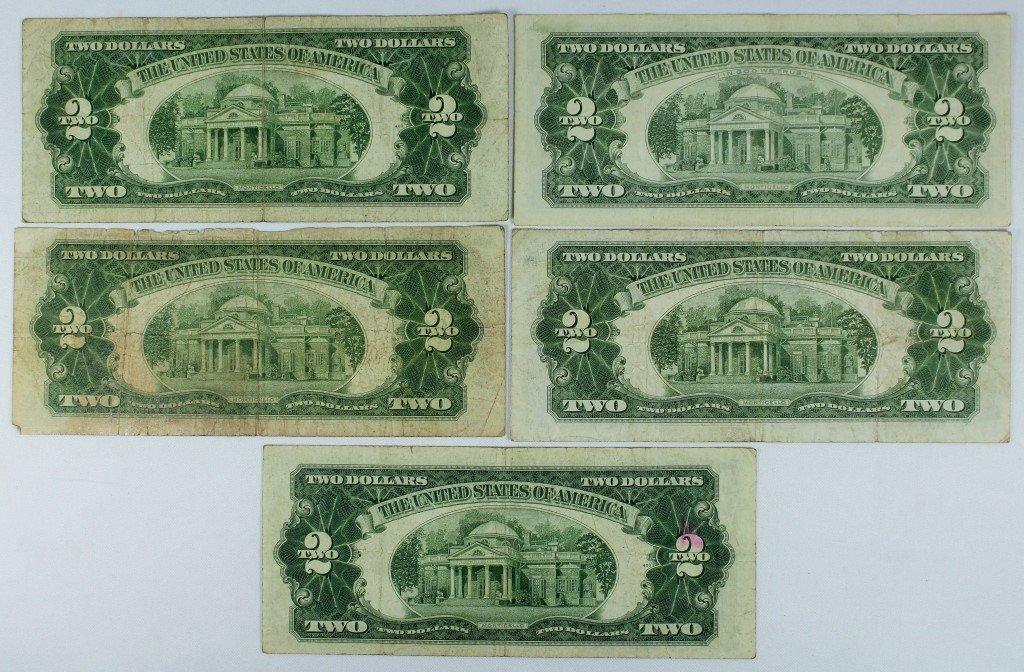 LOT OF (5) RED SEAL $2.00 BILLS (1928 - 1963) - 2