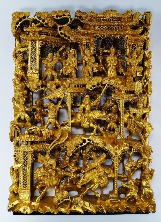 CHINESE CARVED GOLD GILT BATTLE SCENE WOOD PANEL